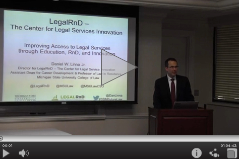 Daniel M. Linna. Improving access to legal services through education, RnD, & innovation.